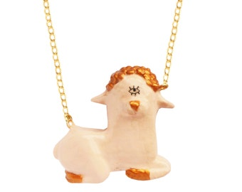 CICLOPE LAMB PENDANT , holly sheep necklace , religious kitch, hand crafted, resin pendant, statement necklace