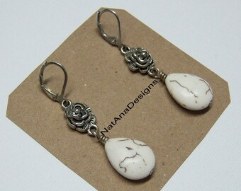 Silver Gemstone Earrings/Natural Stone Earrings/Howlite Drop Earrings/White Earrings/Natural Stones Collection