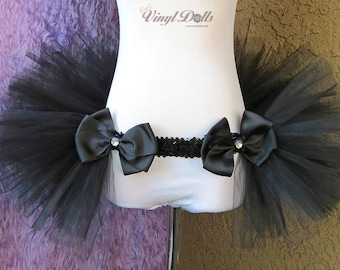 Black Open in the front Rave TuTu, Half TuTu, Bustle, Adult Tulle TuTu Skirt, DanceWear