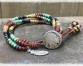 Native American Beaded Wrap Bracelet/ Southwestern Jewelry/ Bohemian Leather Bracelet/ Seed Bead Wrap Bracelet/ Boho Wrap Bracelet.