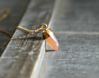 Peach Moonstone Point Neckace // Tiny 24k Gold Dipped Dagger Pendant on a Gold Filled Chain • June Birthstone Jewelry • Dainty Gift for Her