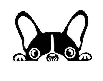 Peeking dog vinyl decal, french bulldog, frenchie, boston terrier dog, car window sticker, yeti tumbler decal, animal lover, animal rescue