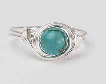 Turquoise Ring, Real Turquoise Sterling Silver Ring, December Birthstone, Boho Ring, Real Turquoise Gemstone Ring, Gift Ideas