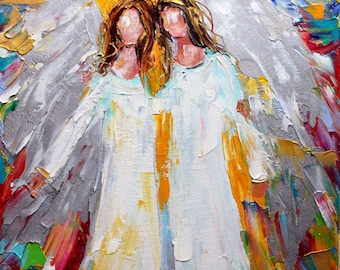 Fine art print Angel Besties - made from image of past oil painting by Karen Tarlton - impressionistic palette knife modern art
