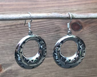 Earrings handcrafted Sterling Silver - earrings creole type round Silver 925 sterling 4cm long ethnic made may