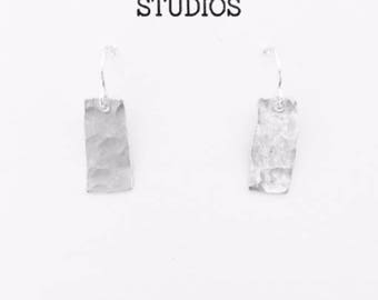 Small Silver Earrings, Hammered Silver Earrings, Silver Rectangle Earrings