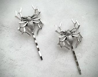 Silver Spider Hair Pins Spider Bobby Pins Insect Hair Pins Spider Hair Clip Halloween Hair Halloween Accessories Spider Halloween Costume