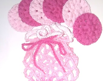 crochet face scrubbies, crochet face scrubbies, crochet scrubbies, crochet face scrubbers, crochet make-up remover pads, crochet wash bag