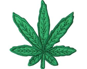 1.5 X 1.75 Inch Die-Cut Pot Leaf Green Iron-On Patch Stoner Decoration Applique
