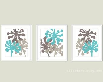 Modern Dandelions Art Prints - Flower Wall Art - Print Set - Aqua Blue and Brown Taupe - Modern Decor - Nature Floral Wall Art