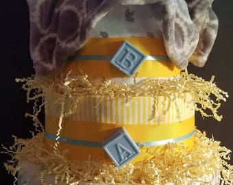 Yellow*White*Grey Elephant Diaper Cake