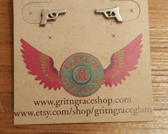 Pistol post earrings, country girl jewelry, cowgirl, gifts , free shipping