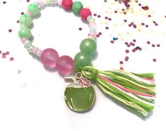 Tropical Drink Coconut Tutti Fruitti Charm Bracelet- tutti fruitti outfit, tutti fruiti bracelet, fruit charm bracelet, coconut charm