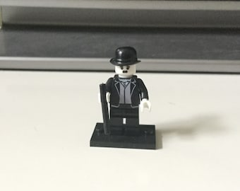 Charlie Chaplin Custom made Lego inspired Tramp Character Minifigure Silent film movie toy