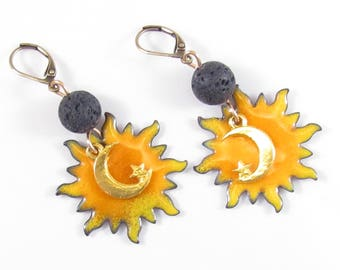 Sun earrings torch fired enamel celestial eclipse dangles artisan