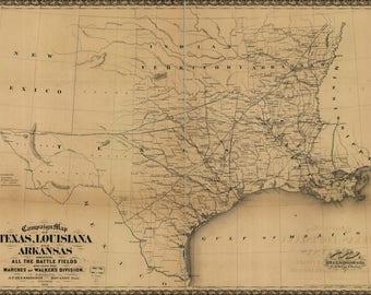 Poster, Many Sizes Available; Civil War Map Of Texas Louisiana & Arkansas 1861-65