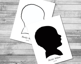 Personalized B/W 'Large Silhouette' Theme - A2 Folded Stationery (5.5 x 4.25 inches)