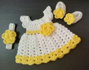 Crochet Baby Dress, Yellow Baby Outfit, Handmade Baby Headband, Newborn Baby Outfit, Baby Shower Gift, Infant Girl Dress, Baby Gift