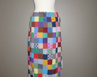 Groovy Patchwork Double Knit Maxi Long Skirt with Slit