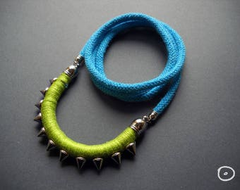 Mother's day Total spiked necklace in Green and Blue pendant for women Arc pendant with spikes for birthday gift for women gifts for her