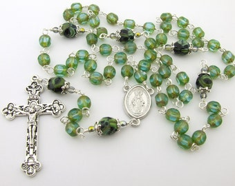 Catholic Rosary Beads - Miraculous Medal Green Czech Glass Five Decade Rosary Beads - Personalized Name Rosary - Catholic Gift