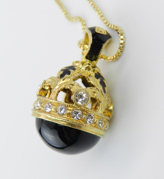 """18K Yellow Gold over Sterling Silver Black Enamel and Black Onyx Swarovski Crystal Pendant with Chain 20"""" Faberge Style Egg"""