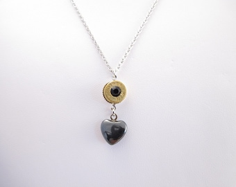 Necklace-9mm Winchester bullet casing-black crystal center-black heart dangle-base metal chain-heart toggle closure-ammo jewelry-gun jewelry