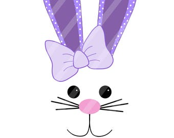 Purple Easter Bunny Face Digital Download for iron-ons,heat transfers, T-Shirts, Onesies, Bibs, Towels, Aprons, DIY YOU PRINT