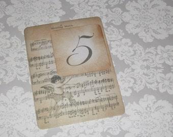 Vintage Style Paris Music Notes Cherub Luxury Table Numbers/Names Wedding Original Design