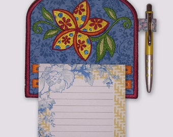 Funky Pinwheel Flower Magnetic Applique Embroidered Notepad Holder