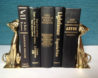 Black books, black decorative books, black and red book collection, vintage book set, vintage books, black and gold books, large books,