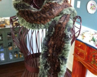 Vintage Fur Scarf - Rabbit Fur Accessory - Green and Brown Tones - Gift for Her