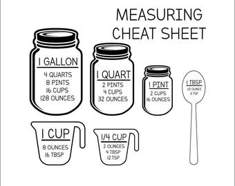 Measurement Cheat Sheet SVG - Measurement SVG - svg, dxf, eps, png, Pdf - Download - Cut File, Clipart - Cricut Explorer - Silhouette Cameo