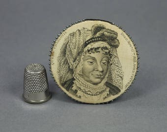 Antique Silk Pincushion 1818 Queen Charlotte Mourning Commemorative Pin Wheel George III With 1839 Letter Provenance