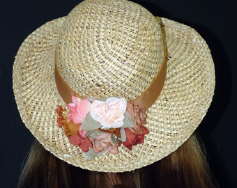 Vintage Straw HAT with Flowers.