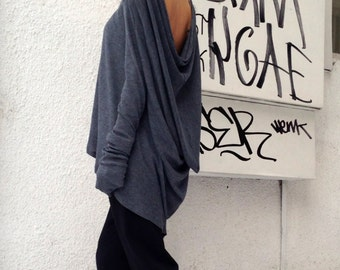 Casual Grey Loose Top / Long sleeved Asymmetric Blouse / Ribbed Soft Fabric / Turtleneck Top A12025