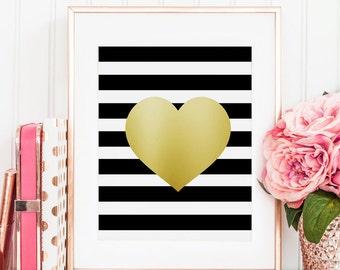 PRINTABLE Art, Gold Heart Print, Gold Foil, Gold Print, Girls Room Decor,Fashion Print,Gift For Her, Digital Print,Wall Art,Girls Room Decor