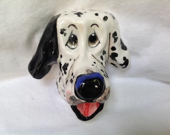 Hand Painted Ceramic Dog Sculpture / Dog head  / Whimsical / Dalmatian / Dog Art / Custom Dog / Debby Carman