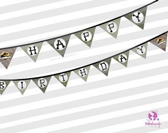 Jurassic Park Happy Birthday Banner, Custom, Dinosaur, Happy Birthday, Jurassic Park, Custom , Party Decoration, Birthday Banner