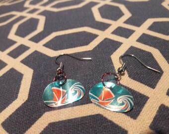 Ship on the ocean earrings