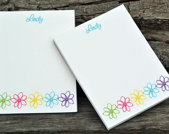 Personalized Notepads / Flower Design Notepads / Personalized Note Pads Set of 2 Doodle Flowers Design / Personalized Notebook / Journal