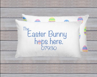 Easter Bunny Pillow, Easter Pillow, Easter Bunny Hops Here, Happy Easter Pillow, Whimsical Easter Bunny Pillow, Easter Home Decor