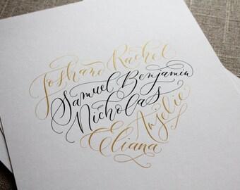 Custom Calligraphy Print // 8x10 {Heart Shaped Family Names}