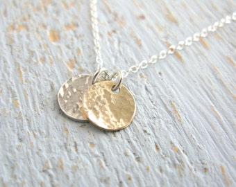 Friends Disk Necklace, Textured Disk Necklace, Gold & Silver Disk Necklace, Small Disk Necklace