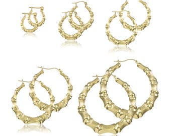 10K Yellow Gold Round Bamboo Hoop Earrings - Door Knocker