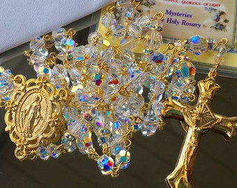 Catholic Swarovski AB Crystal Rosary in Gold