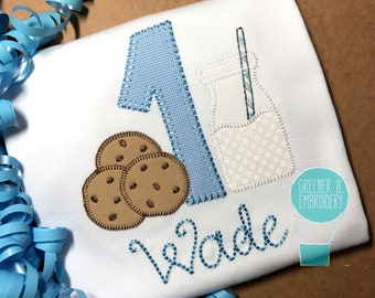 Milk and Cookies Birthday Shirt / Milk and Cookie applique / Cookie Birthday / Personalized Birthday Shirt / 1st Birthday / Chocolate Chip