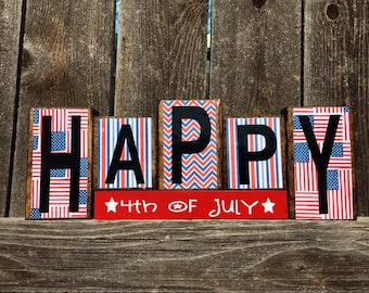 4th of July wood blocks-Happy 4th of July
