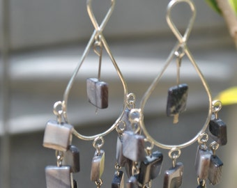 Silver, chandelier, stone, gray, shoulder dusters, marble