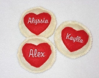 Personalized HEART FELT cookies - Pretend food - Play food - birthday party favors - school treat -  #1003